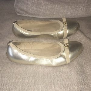 "Shoes - Michael Kors gold ""Rover Lux"" flats"